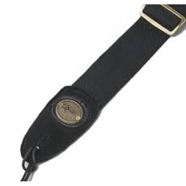 "FENDER  2"" COTTON/LEATHER  STRAP  BLACK    TRACOLLA"